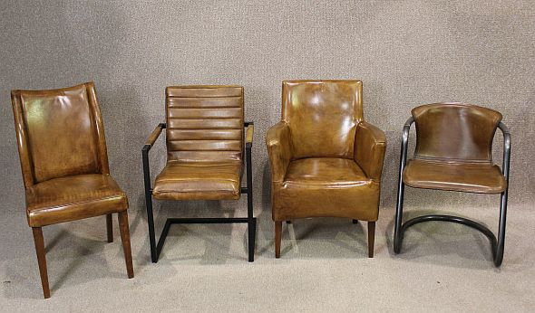 Tubular steel and leather chair superb quality unusual