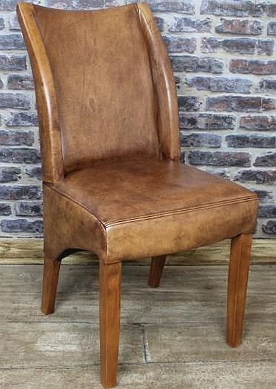 Tan leather dining chair classic design in beautiful ...