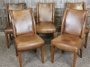 aged leather vintage style dining chairs