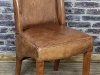 industrial style aged leather dining chairs