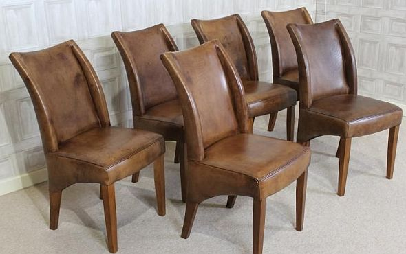 Tan leather dining chair classic design in beautiful for Leather bucket dining chairs