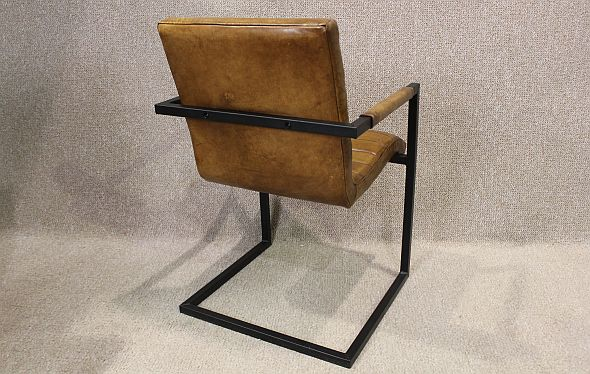 Tan Leather Armchair With Steel Frame A Wonderful Chair
