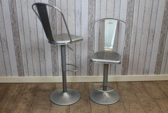 galvanised tall tolix style bar chair