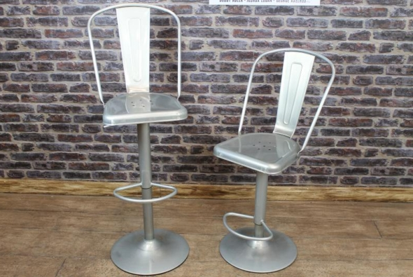 Galvanised Tolix Style Bar Stool With Back