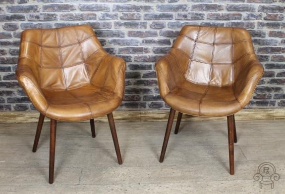 Vintage Style Chair Tan Leather Bucket Armchair