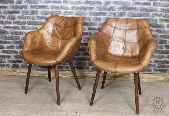 vintage style chair tan leather bucket armchair. Black Bedroom Furniture Sets. Home Design Ideas