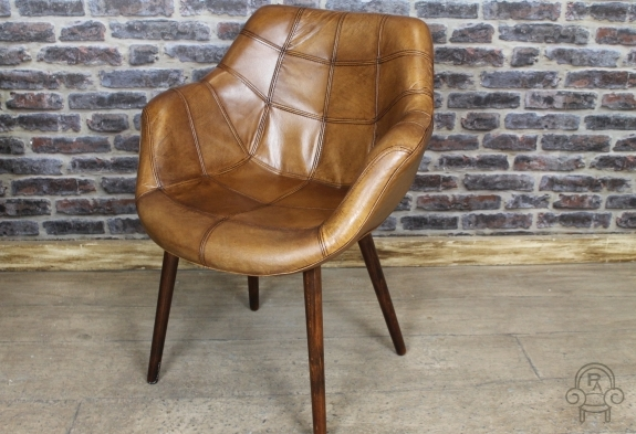 Vintage Style Chair Tan Leather Bucket Armchair