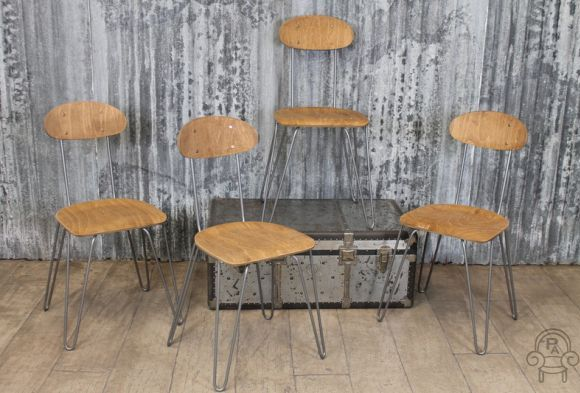 Industrial hair pin stacking chairs vintage industrial retro for Hairpin cafe chair