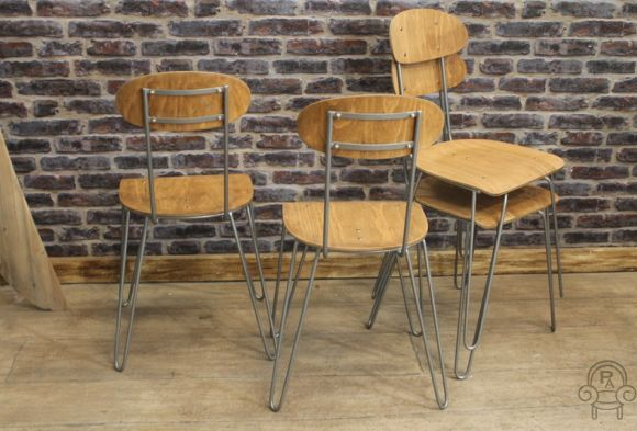 Industrial Hair Pin Stacking Chairs Vintage Industrial Retro