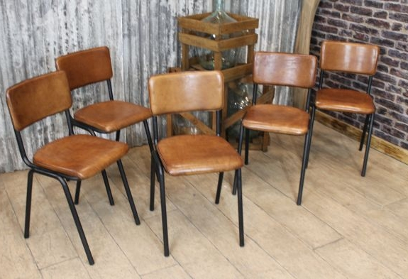Tan Leather Industrial Style Chairs