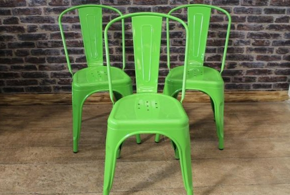 stacking bright colour tolix style chairs