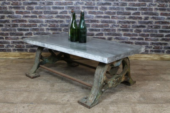 Large Industrial Vintage Zinc Top Cast Iron Base Coffee Table