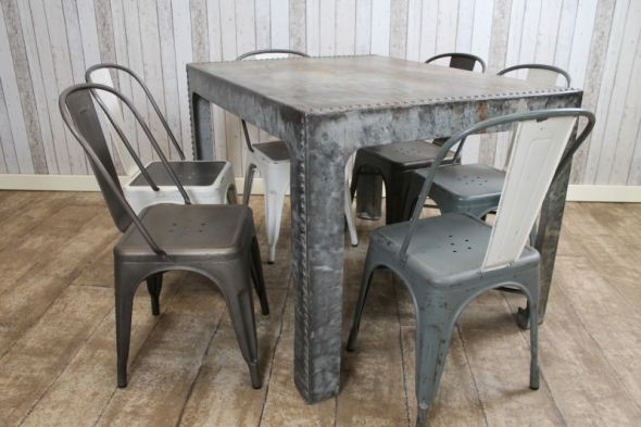 Metal Dining Table Converted Vintage Water Tank
