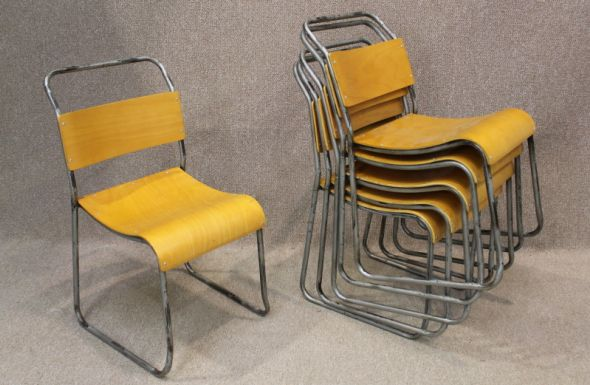 Retro Metal Stacking Chairs These Stackable Plywood Seat