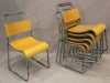 plywood and metal stacking chairs