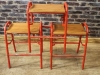 red frame stacking stools
