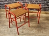 red vintage lab stools