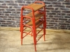 vintage lab stools with wooden seats