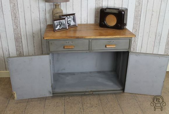 Furniture and storage archives vintage industrial retro for Brushed aluminum kitchen cabinets