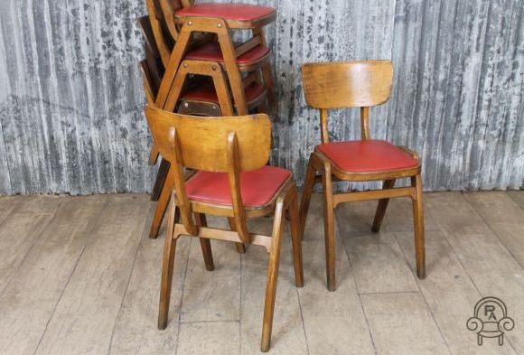 Original Wooden Stacking Chairs With Removable Red Seat