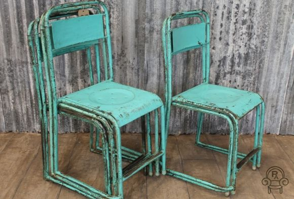 Vintage Green Metal Stacking Chairs Vintage Industrial Retro