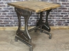 pine and steel cafe table