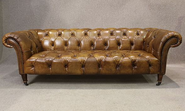 Leather Chesterfield Sofa In Antiqued Tan Leather A