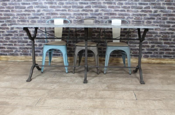 Vintage Industrial Stone Top Cast Iron Base French Style Dining Table