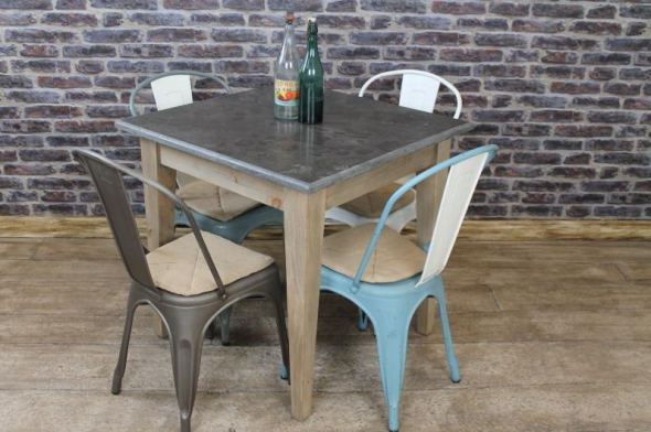 Square stone top cafe restaurant tables vintage