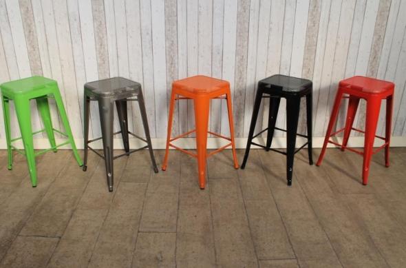 Industrial Orange Tolix Style Stacking Stools