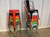 multi tolix chairs stools cafe