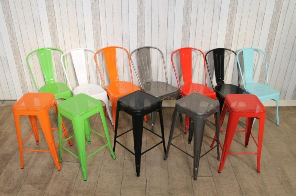 Green Tolix Style Stool Retro Vintage Restaurant Cafe Chair