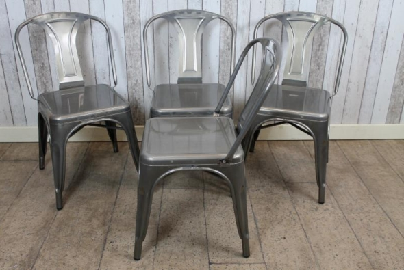Gunmetal Square Seat Tolix Style Chairs