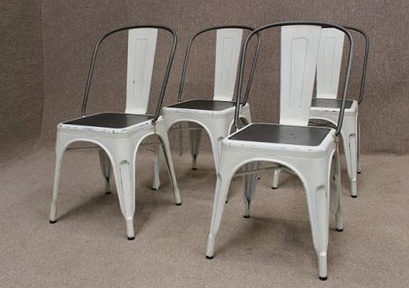 Industrial White Grey Metal Chairs