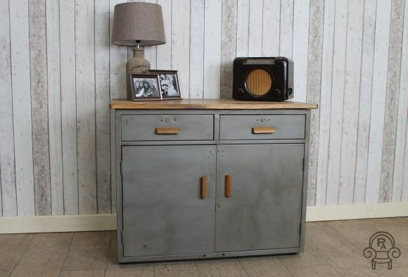 Vintage Industrial Brushed Metal Cabinet Vintage