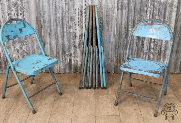 Industrial folding blue chair
