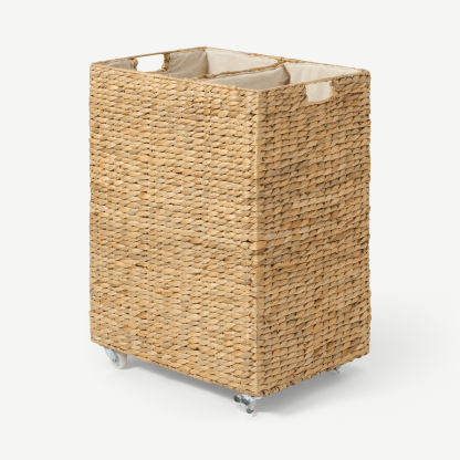 Dae Water Hyacinth 2-Section Laundry Cart